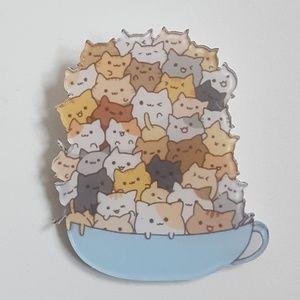 Jewelry - Cats in a Tea Cup Acrylic Kawaii Pin